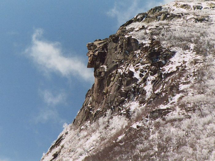 """Old Man of the Mountain 4-26-03"" by Jeffrey Joseph, public domain"